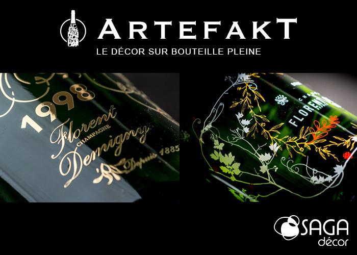 Artefakt decor bouteille pleine serigraphie laquage jet encre marquage chaud verre saga verallia