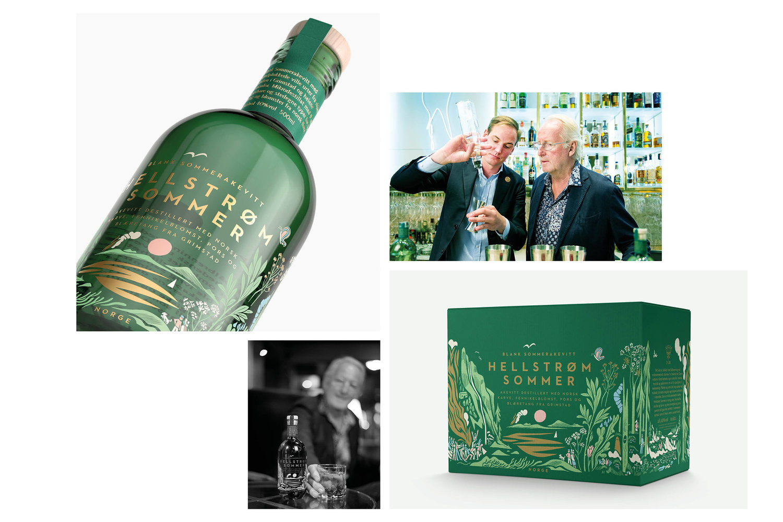 Hellstrøm Sommer Aquavit sérigraphie laquage translucide décor bouteille verre récompense premier prix