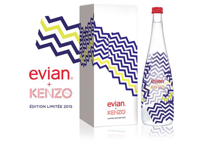 Sérigraphie SAGA décor verre bouteille eau evian kenzo