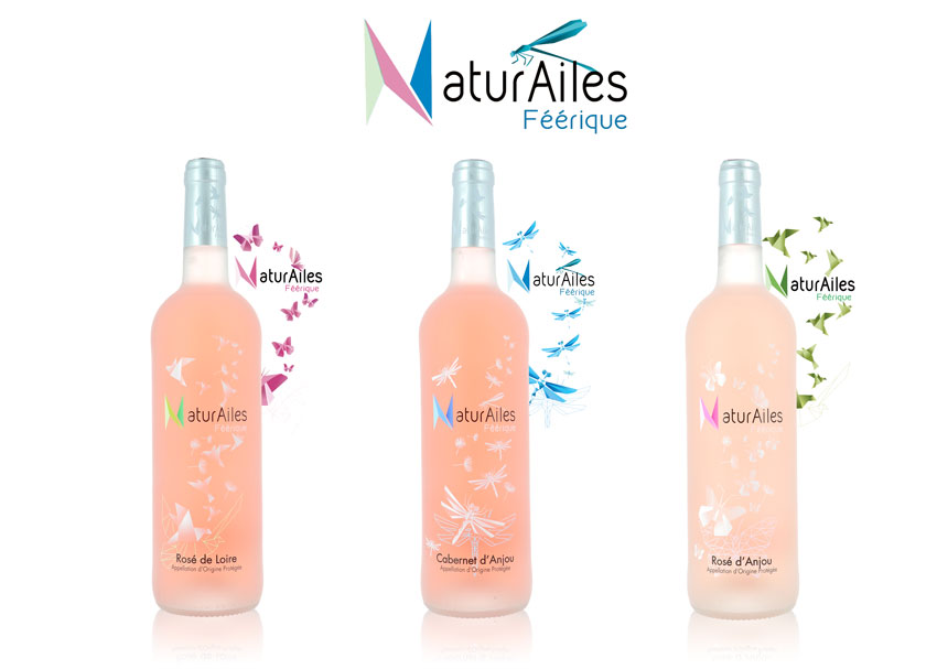 Bouteille Natur'Ailes rosé de Loire, Cabernet d'Anjou et rosé d'Anjou sérigraphié par Saga Décor