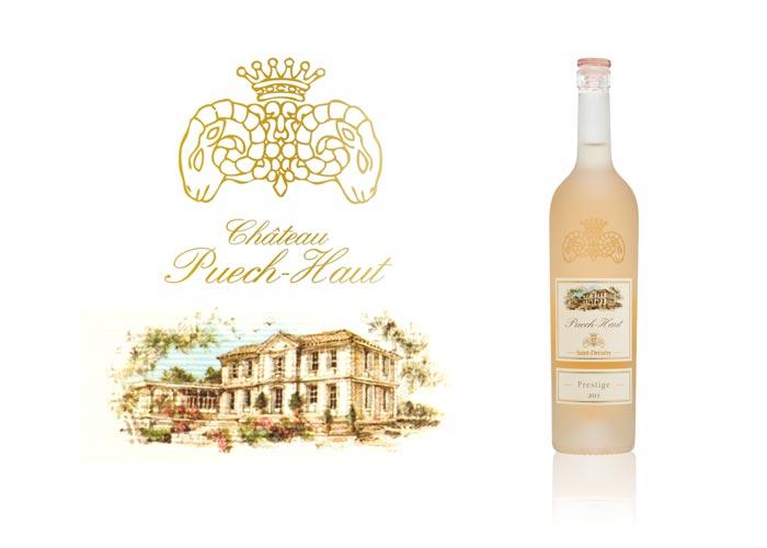 Satinage SAGA Décor dépolissage bouteille verre Puech-Haut tête de bélier Prestige rosé