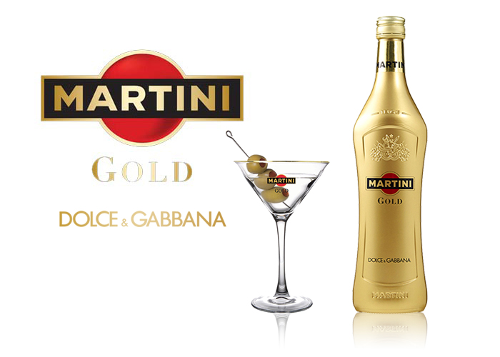 Laquage SAGA Décor bouteille verre Martini Gold Dolce Gabbana